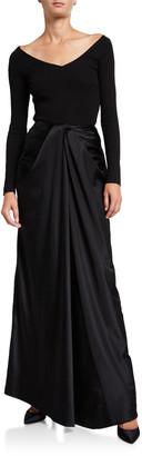 Rosetta Getty Long Twisted Satin Skirt