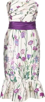 Marchesa Floral Print Strapless Dress