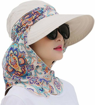 AIDIER Roll Up Wide Brim Sun Visor UPF 50+ UV Protection Sun Hat with Neck Protector Beige