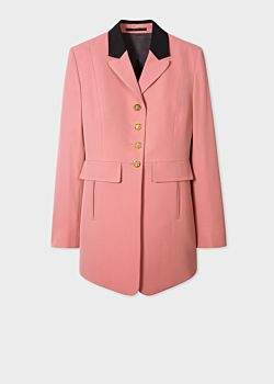 Women's Dusky Pink Wool And Cotton-Blend Long-Line Blazer With Black Collar Detail