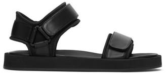 The Row Black Hook-And-Loop Sandals