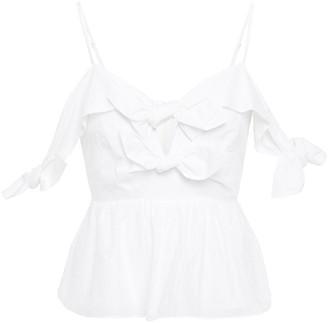 Rebecca Taylor Cold-shoulder Knotted Hammered Cotton-blend Top