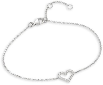 Effy Pave Classica 14K White Gold & Diamond Heart Bracelet