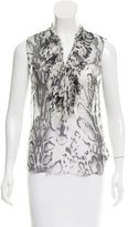 L'Agence Ruffle-Trimmed Silk Top