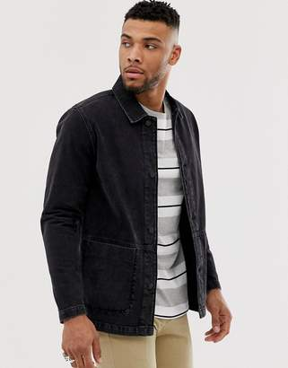 Asos Design DESIGN denim worker jacket in washed black