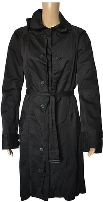 One Step Black Cotton Trench Coat for Women