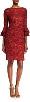 Theia Bateau-Neck Tiered Bell-Sleeve Brocade Shift Dress