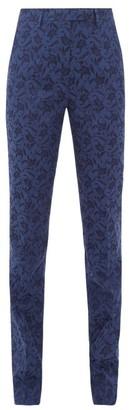 Etro Altea Floral Jacquard Trousers - Womens - Blue Multi