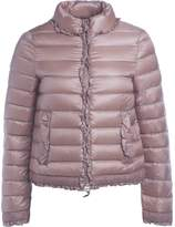 Twin-Set Twinset Pink Down Jacket With Rouches And Lace