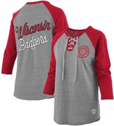 Unbranded Women's Pressbox Heathered Gray/Red Wisconsin Badgers Two-Hit Lace-Up Raglan Long Sleeve T-Shirt