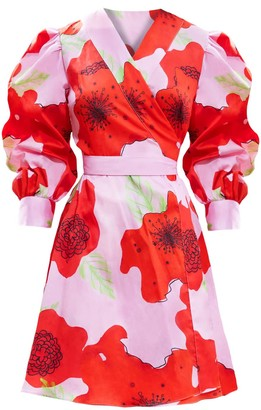Sabina Söderberg Marina Cotton Wrap Dress Pink Flower