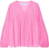 Apiece Apart Wabi Crinkled Cotton-poplin Blouse - Pink