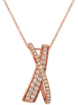 "LeVian Le Vian Nude Diamonds Crisscross 20"" Pendant Necklace (5/8 ct. t.w.) in 14k Rose Gold"