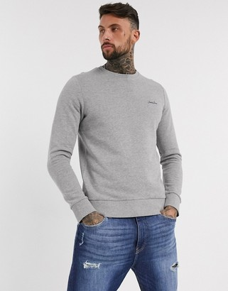 Jack and Jones Originals script logo crew neck sweat in gray