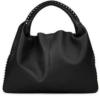 Valentino Extra-Large Rockstud Leather Hobo Bag
