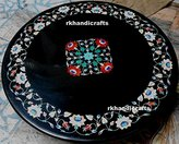 "36"" x 36'' Round Black Marble Inlay Table Top Pietra Dura Semi Precious Stone Inlay Floral Design Coffee Table Dining Table"