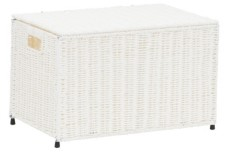 Household Essentials Small Wicker storage Chest, White
