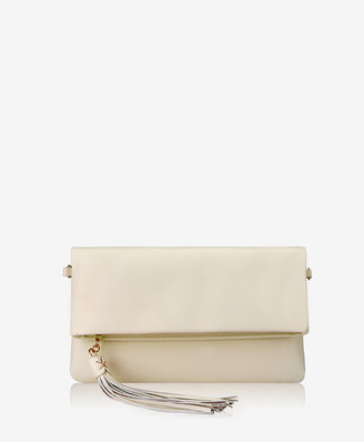 GiGi New York Stella Fold-Over Clutch, Ivory Napa Luxe
