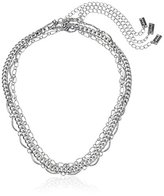 Steve Madden SMN463549RH 3 Piece Chain Silver Choker Necklace
