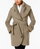 T Tahari Marla Shawl-Collar Wrap Coat