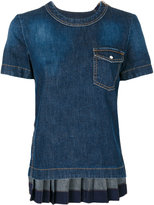 Sacai rear pleated denim top - women - Cotton - 1