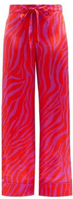 Halpern Zebra-stripe Satin Trousers - Red Print