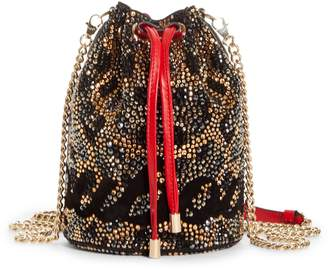 Christian Louboutin Marie Jane Crystal Leopard Print Bucket Bag