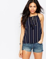 Daisy Street Cami Top With Tassel Tie