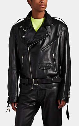 Vetements Men's Oversized Buckle-Detailed Leather Moto Jacket - Black