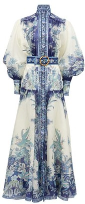 Zimmermann Glassy Billow Peplum-panel Silk-twill Maxi Dress - Blue Print
