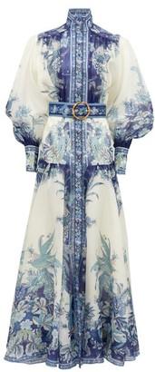 Zimmermann Glassy Billow Peplum-panel Silk-twill Maxi Dress - Womens - Blue Print