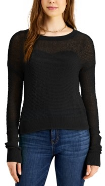 Bar III Pointelle Cropped Pullover Sweater, Created for Macy's
