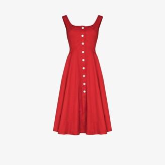 STAUD Loretta Button-Down Midi Dress