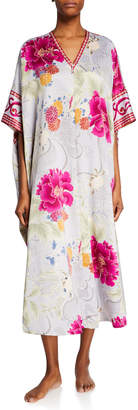 Natori Plus Size Auburn Floral Zip-Front Caftan