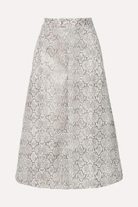 Georgia Alice Snake-effect Faux Leather Midi Skirt - Snake print