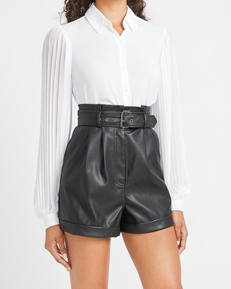 Express Super High Waisted Vegan Leather Belted Shorts