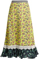 House of Holland Floral-print cady midi skirt