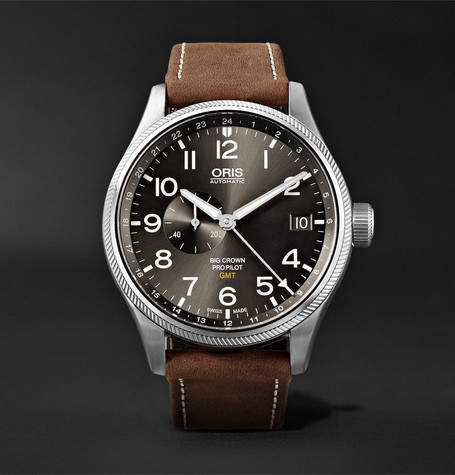 Oris Big Crown ProPilot GMT Automatic 45mm Stainless Steel and Suede Watch - Dark brown