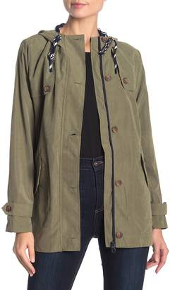 Blu Pepper Woven Drawstring Hooded Jacket