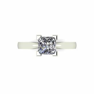 Moissanite 9 Carat White Gold Princess Cut 105pt Equivalent Ring