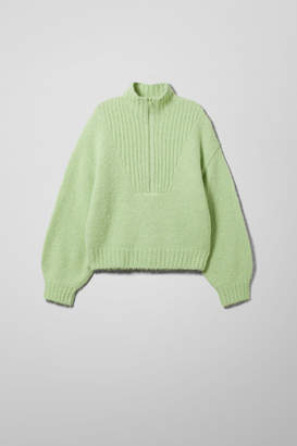 Weekday Selina Zip Sweater - Black