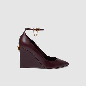 Valentino Burgundy Wedge Heel Leather Pumps Size IT 41