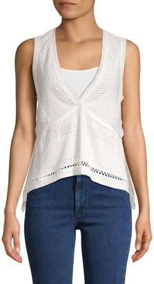 BCBGMAXAZRIA Perforated V-Neck Knitted Top