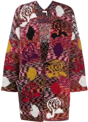 See by Chloe Intarsia-Knit Oversized Cardigan