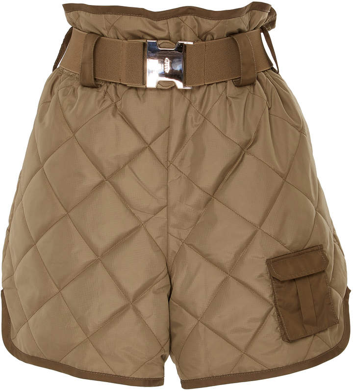 Belted Quilted Shell Shorts