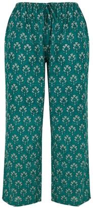 Teal Dilkush Print Pyjama Trousers