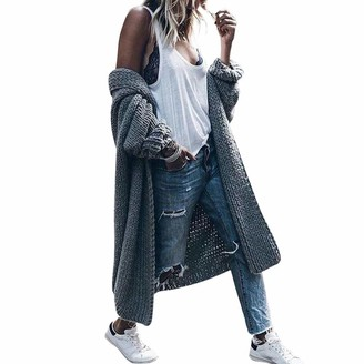 Fhuuly Women Waterfall Long Solid Color Cardigans Open Front Autumn Lightweight Long Sleeve Ladies Knitted Coat (Gray S)