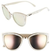 Quay Women's 'My Girl' 50Mm Cat Eye Sunglasses - Pearl/ Gold Mirror