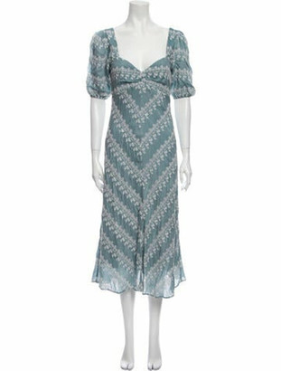 Love Sam Printed Midi Length Dress w/ Tags Blue