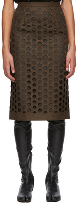 Maison Margiela Brown Melton Wool Cut-Out Skirt